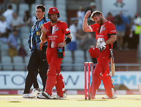 17th July 2021; Emirates Old Trafford, Manchester, Lancashire, England; T20 Vitality Blast Cricket, Lancashire Lightning versus Yorkshire Vikings; Steven Croft and Danny Lamb of Lancashire Lightning steered their side to what turned out to be a nervous four wicket victory as the home side scored 131-6 in response to the visitors' 128-7