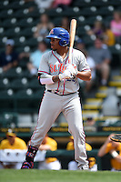 St. Lucie Mets first baseman Dominic Smith (22) at bat during a game against the Bradenton Marauders on April 12, 2015 at McKechnie Field in Bradenton, Florida.  Bradenton defeated St. Lucie 7-5.  (Mike Janes/Four Seam Images)