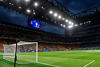 A general view of the stadium with the Champions league trophy pictured on the screen during the Uefa Champions League group D football match between FC Internazionale and Real Madrid at San Siro stadium in Milano (Italy), September 15th, 2021. Photo Andrea Staccioli / Insidefoto
