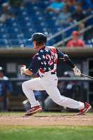 Quad Cities River Bandits right fielder Chandler Taylor (23) follows through on a swing during a game against the West Michigan Whitecaps on July 23, 2018 at Modern Woodmen Park in Davenport, Iowa.  Quad Cities defeated West Michigan 7-4.  (Mike Janes/Four Seam Images)