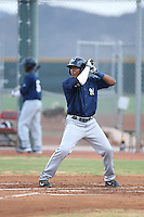 Juan Ortiz (43) of the AZL Brewers bats during a game against the AZL Reds at Cincinnati Reds Spring Training Complex on July 5, 2015 in Goodyear, Arizona. Reds defeated the Brewers, 9-4. (Larry Goren/Four Seam Images)