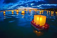 Floating Lanterns at dusk in Ala Moana Beach during Memorial Day celebration, Honolulu, Hawaii, USA