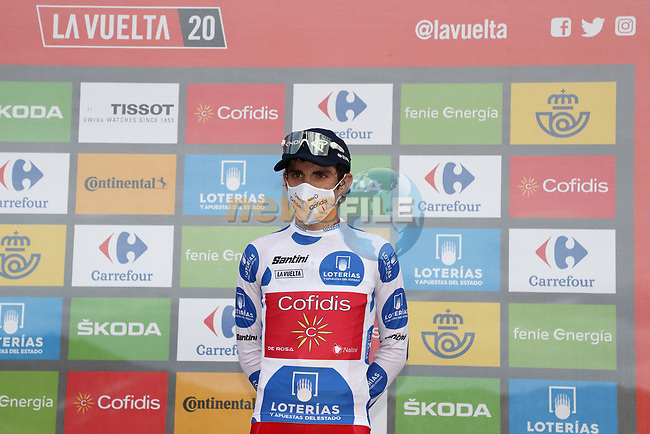 Guillaume Martin (FRA) Cofidis cements the mountains Polka Dot Jersey at the end of Stage 12 of the Vuelta Espana 2020 running 109.4km from Pola de Laviana to Alto de l'Angliru, Spain. 1st November 2020..    <br /> Picture: Luis Angel Gomez/PhotoSportGomez | Cyclefile<br /> <br /> All photos usage must carry mandatory copyright credit (© Cyclefile | Luis Angel Gomez/PhotoSportGomez)