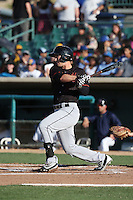 Jay Baum (17) of the Bakersfield Blaze bats against the Lancaster JetHawks at The Hanger on June 18, 2016 in Lancaster, California. Bakersfield defeated Lancaster, 10-7. (Larry Goren/Four Seam Images)