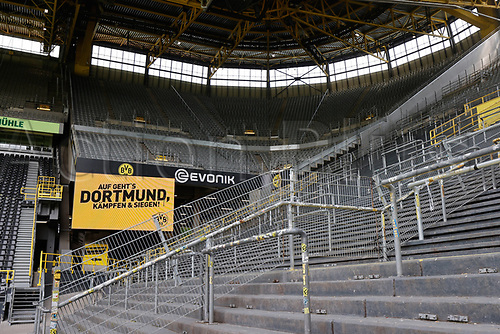 16th May 2020, Signal Iduna Park, Dortmund, Germany; Bundesliga football, Borussia Dortmund versus FC Schalke; Empty stands as no fans allowed in for the game