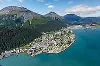 Summer landscape aerial of the city of Seward, Alaska and harbor. Kenai Penninsula, Summer, Alaska   <br /> <br /> Photo by Jeff Schultz/  (C) 2019  ALL RIGHTS RESERVED