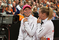 Februari 07, 2015, Apeldoorn, Omnisport, Fed Cup, Netherlands-Slovakia, Presentation, Michaella Krajicek shows het colors<br /> Photo: Tennisimages/Henk Koster