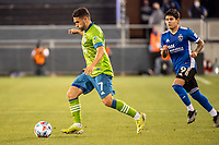 SAN JOSE, CA - MAY 12: Cristian Roldan #7 of the Seattle Sounders dribbles the ball during a game between San Jose Earthquakes and Seattle Sounders FC at PayPal Park on May 12, 2021 in San Jose, California.