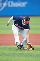Troy McGrit (21) of P27 Academy (NC) playing for the Atlanta Braves scout team takes ground balls during infield practice prior to game two of the South Atlantic Border Battle at Truist Point on September 26, 2020 in High Pont, NC. (Brian Westerholt/Four Seam Images)