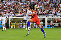 PHILADELPHIA, PA - AUGUST 29: Ana Borges #9 of Portugal goes up for a header with Carli Lloyd #10 of the United States during a game between Portugal and USWNT at Lincoln Financial Field on August 29, 2019 in Philadelphia, PA.