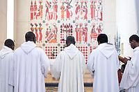 SENEGAL, Benedictine monastery Keur Moussa, altar wall painting / Senegal, Benediktinerkloster Keur Moussa, Altar mit biblischen Wandbildern