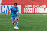 FOXBOROUGH, MA - SEPTEMBER 02: Joe Scally #25 of New York City FC brings the ball forward during a game between New York City FC and New England Revolution at Gillette Stadium on September 02, 2020 in Foxborough, Massachusetts.