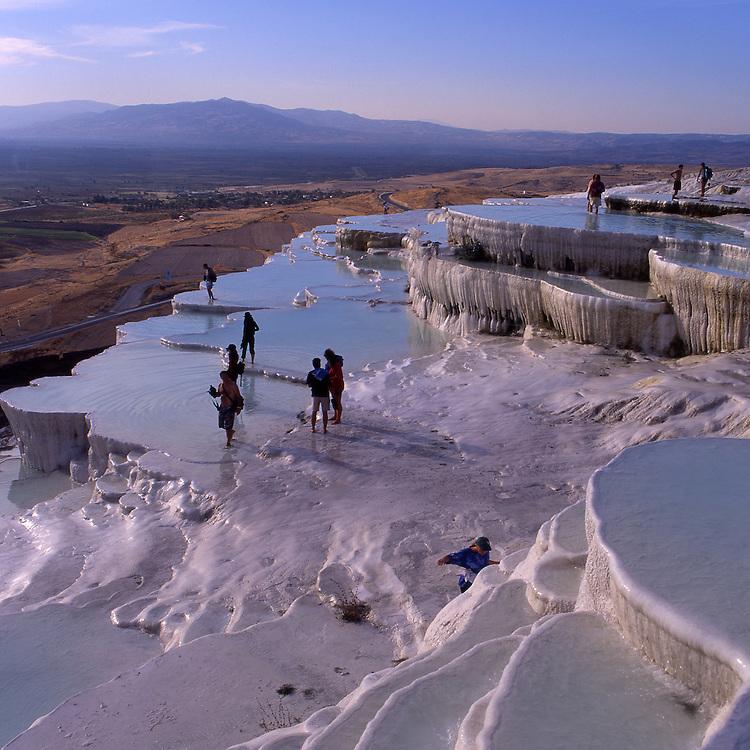 Asia, TUR, Turkey, Aegean Sea, Aegean, Pamukalle, Hot springs, Limestone terrace