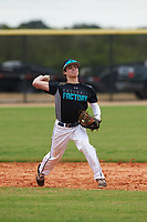 Mitchell Riccio (1) of Notre Dame, Connecticut during the Baseball Factory All-America Pre-Season Rookie Tournament, powered by Under Armour, on January 13, 2018 at Lake Myrtle Sports Complex in Auburndale, Florida.  (Michael Johnson/Four Seam Images)