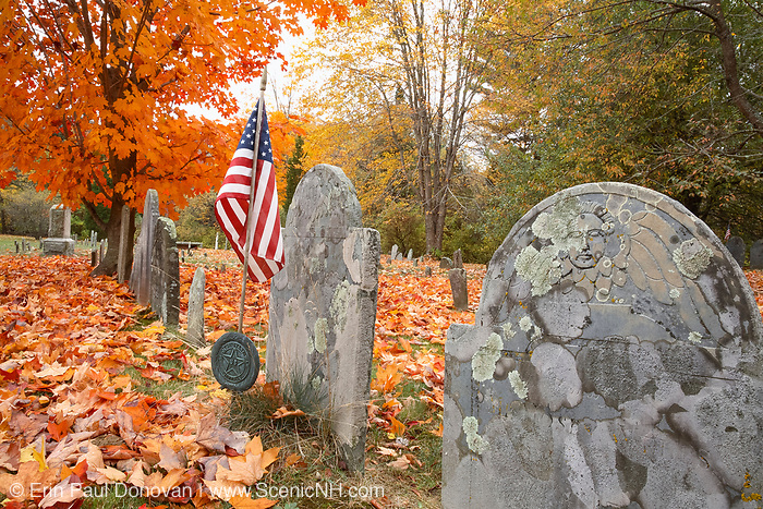 Old Brookside Cemetery in Hampton Falls, New Hampshire during the autumn months. New Hampshire is part of  scenic New England