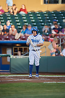 Billy Burns (14) of the Omaha Storm Chasers bats against the Round Rock Express at Werner Park on May 27, 2018 in Papillion , Nebraska. Round Rock defeated Omaha 8-3. (Stephen Smith/Four Seam Images)