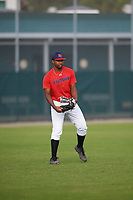 Brandon Thompson (68), from Richmond, Texas, while playing for the Red Sox during the Baseball Factory Pirate City Christmas Camp & Tournament on December 30, 2017 at Pirate City in Bradenton, Florida.  (Mike Janes/Four Seam Images)