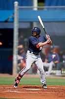 GCL Twins third baseman Charles Mack (9) at bat during a game against the GCL Rays on August 9, 2018 at Charlotte Sports Park in Port Charlotte, Florida.  GCL Twins defeated GCL Rays 5-2.  (Mike Janes/Four Seam Images)