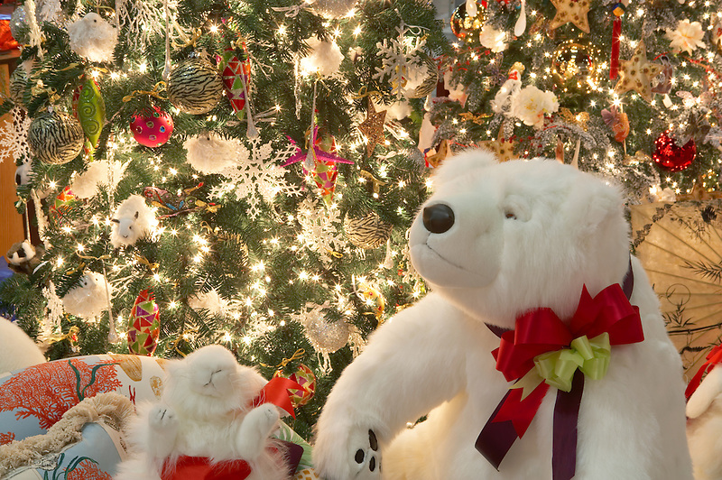 Christmas tree decorated with Christmas bear. Providence Festival of Trees. Portland. Oregon