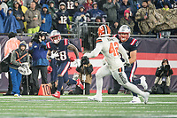 FOXBOROUGH, MA - OCTOBER 27: New England Patriots Runningback James White #28 catches a short pass and runs down the sideline during a game between Cleveland Browns and New Enlgand Patriots at Gillettes on October 27, 2019 in Foxborough, Massachusetts.