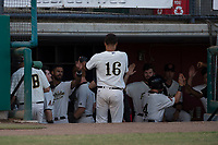 Visalia Rawhide left fielder Ramon Hernandez (16) receives high fives from teammates after an RBI sacrifice fly during a California League game against the Stockton Ports at Visalia Recreation Ballpark on May 8, 2018 in Visalia, California. Stockton defeated Visalia 6-2. (Zachary Lucy/Four Seam Images)