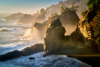 Coastline at sunset.Thunder <br /> Cove. Samuel H. Boardman State Park (Scenic Corridor), Oregon
