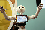 July 21, 2016, Tokyo, Japan - Japanese communication giant Softbank's humanoid robot Pepper is displayed for business use at Softbank's two-day convention Softbank World in Tokyo on Thursday, July 21, 2016. Softbank CEO Masayoshi Son delivered a keynote speech at the event after the company announced to acquire British chip maker ARM last week.     (Photo by Yoshio Tsunoda/AFLO) LWX -ytd-