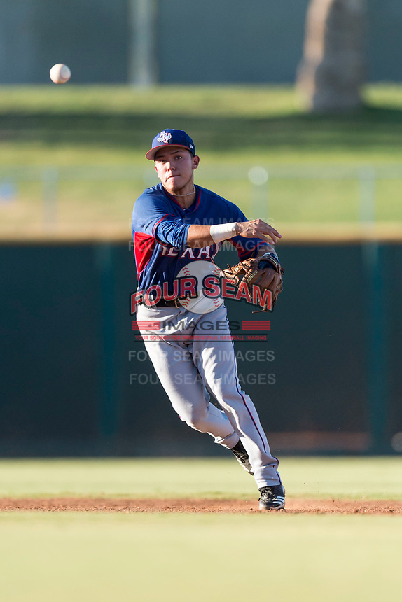 AZL Rangers shortstop Frainyer Chavez (60) throws to first base during an Arizona League playoff game against the AZL Indians 1 at Goodyear Ballpark on August 28, 2018 in Goodyear, Arizona. The AZL Rangers defeated the AZL Indians 1 7-4. (Zachary Lucy/Four Seam Images)