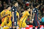 FC Barcelona's Luis Suarez celebrates goal during Champions League 2015/2016 match. April 5,2016. (ALTERPHOTOS/Acero)