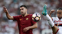 Calcio, Serie A: Roma, stadio Olimpico, 28 maggio 2017.<br /> Genoa's Diego Laxalt (r) in action with AS Roma's Kevin Strootman (l) during the Italian Serie A football match between AS Roma and Genoa at Rome's Olympic stadium, May 28, 2017.<br /> Francesco Totti's final match with Roma after a 25-season career with his hometown club.<br /> UPDATE IMAGES PRESS/Isabella Bonotto