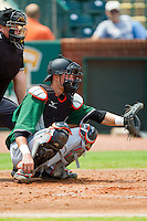 Augusta GreenJackets catcher Trevor Brown (41) sets a target as home plate umpire Kevin Morgan looks on during the South Atlantic League game against the Greensboro Grasshoppers at NewBridge Bank Park on August 11, 2013 in Greensboro, North Carolina.  The GreenJackets defeated the Grasshoppers 6-5 in game one of a double-header.  (Brian Westerholt/Four Seam Images)