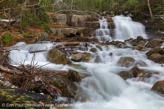 Stairs Falls on Dry Brook in Franconia Notch State Park of the New Hampshire White Mountains during the spring months. The Falling Waters Trail passes by this small waterfall.