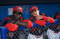 Batavia Muckdogs hitting coach Rigoberto Silverio (18) and infielder J.C. Millan (4) before a game against the Tri-City ValleyCats on July 15, 2017 at Dwyer Stadium in Batavia, New York.  Tri-City defeated Batavia 5-4.  (Mike Janes/Four Seam Images)