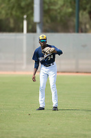 Milwaukee Brewers right fielder Larry Ernesto (24) waits to receive a throw during an Instructional League game against the Los Angeles Dodgers at Maryvale Baseball Park on September 24, 2018 in Phoenix, Arizona. (Zachary Lucy/Four Seam Images)