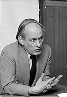 Le chef du PQ Rene Levesque, le 11 fevrier 1973.<br /> <br /> Photo : Agence Quebec Presse