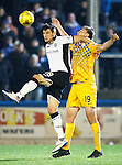 Greenock Morton v St Johnstone...27.10.15  League Cup Quarter Final, Cappielow...<br /> Graham Cummins and Luca Gasparotto<br /> Picture by Graeme Hart.<br /> Copyright Perthshire Picture Agency<br /> Tel: 01738 623350  Mobile: 07990 594431