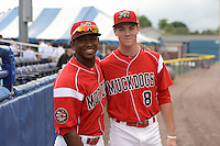 Batavia Muckdogs Miles Williams (26) and Brian Anderson (8) pose for a photo before a game against the State College Spikes on July 3, 2014 at Dwyer Stadium in Batavia, New York.  State College defeated Batavia 7-1.  (Mike Janes/Four Seam Images)