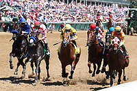 30th April 2021; Kentucky, USA;  Mayfield (6) ridden by Jose Ortiz on the far outside in the blue is the winner of the 18th running of The Alysheba during Oaks Day on April 30, 2021 at Churchill Downs in Louisville, Kentucky.