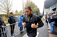 Photo: Richard Lane/Richard Lane Photography. Stade Rochelais v Wasps.  European Rugby Champions Cup. 10/12/2017. Wasps' Nizaam Carr arrives at State Marcel Deflandre.