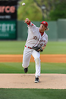 Pitcher Ty Buttrey (47) of the Greenville Drive delivers a pitch in a game against the Lexington Legends on Tuesday, April 14, 2015, at Fluor Field at the West End in Greenville, South Carolina. Lexington won, 5-3. (Tom Priddy/Four Seam Images)
