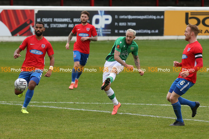 Rhys Murphy of Yeovil Town hits the post during Dagenham & Redbridge vs Yeovil Town, Vanarama National League Football at the Chigwell Construction Stadium on 17th October 2020