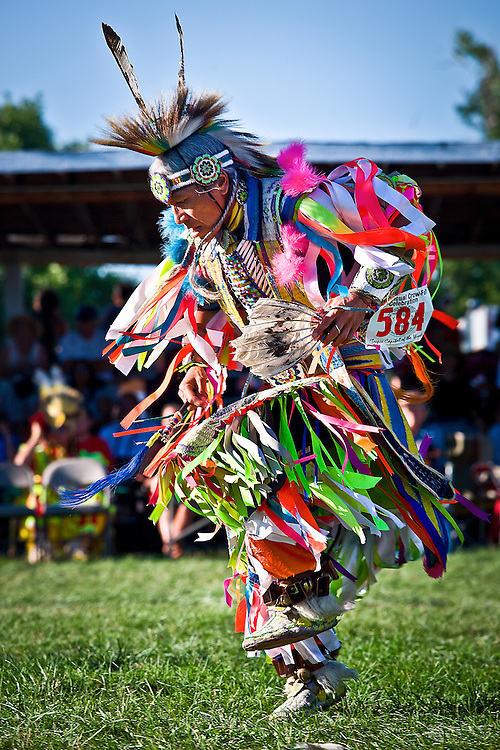 At Crow Fair Powwoww,in the large circular arbor, dancers from many tribes compete for large prize money.