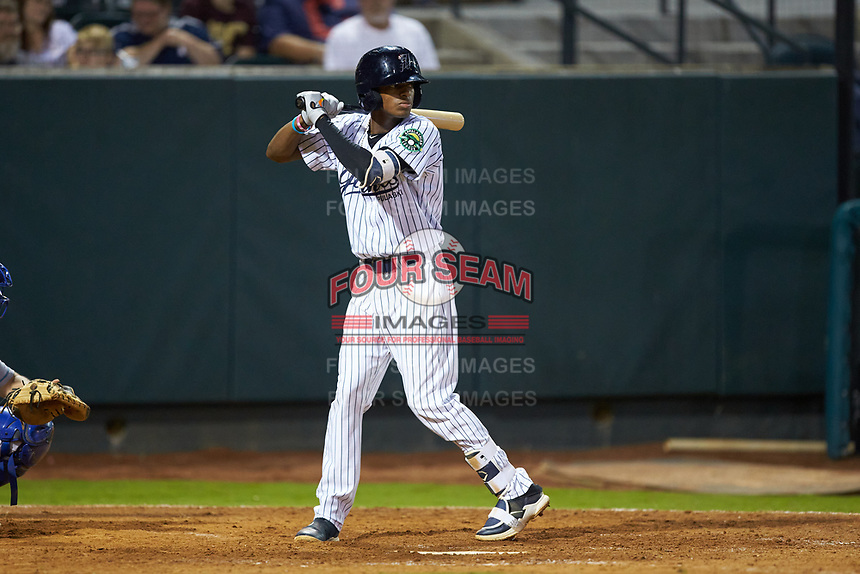 Alexander Vargas (69) of the Pulaski Yankees at bat against the Burlington Royals at Calfee Park on September 1, 2019 in Pulaski, Virginia. The Royals defeated the Yankees 5-4 in 17 innings. (Brian Westerholt/Four Seam Images)