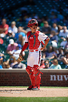 Catcher Drew Romo (8) during the Under Armour All-America Game, powered by Baseball Factory, on July 22, 2019 at Wrigley Field in Chicago, Illinois.  Drew Romo attends The Woodlands High School in The Woodlands, Texas and is committed to LSU.  (Mike Janes/Four Seam Images)