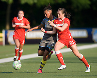 Lianne Sanderson (10) of the Philadelphia Independence fights for the ball with Brittany Bock (21) of the Western New York Flash during the game at Quick Stadium in Chester, PA.  The Western New York Flash defeated the Philadelphia Independence, 2-1.