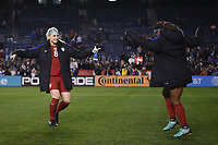San Diego, CA - Sunday January 21, 2018: Julie Ertz, Crystal Dunn during an international friendly between the women's national teams of the United States (USA) and Denmark (DEN) at SDCCU Stadium.