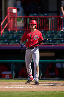 Harrisburg Senators Jacob Rhinesmith (9) bats during a game against the Erie Seawolves on September 5, 2021 at UPMC Park in Erie, Pennsylvania.  (Mike Janes/Four Seam Images)