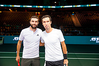 Rotterdam, The Netherlands, 12 Februari 2020, ABNAMRO World Tennis Tournament, Ahoy, Gilles Simon (FRA), Mikhail Kukushkin (KAZ).<br /> Photo: www.tennisimages.com