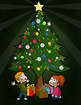 Illustration of happy children looking at Christmas tree