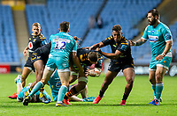 21st August 2020; Ricoh Arena, Coventry, West Midlands, England; English Gallagher Premiership Rugby, Wasps versus Worcester Warriors; Jack Willis of Wasps is tackled by Will Butler of Worcester Warriors during the Gallagher Premiership Rugby match between Wasps and Worcester Warriors at Ricoh Arena